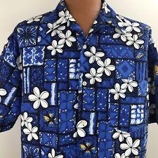 Rusty Hawaiian Aloha Shirt Blue Floral Button Front Men's Large 100% Polyester