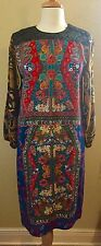 Clements Ribeiro multi colored print silk long sleeve dress sz.10