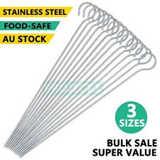 Metal BBQ Skewer Grill Stick Round Kebab Meat Stainless Steel Reuseable 30 46 cm
