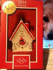 LENOX 2014 BLESS OUR HOME RED CARDINAL BIRDHOUSE PORCELAIN ORNAMENT $60.00 NWT