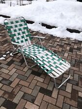 Vintage Folding Aluminum Webbed Chaise Lounge Lawn Chair Green White