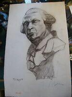 Fusain Turgot par André Simon 1926-2014 1948 Artiste Lorrain
