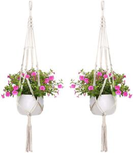 2er Set Makramee Blumenampel Baumwollseil Hängeampel Blumentopf Pflanzen