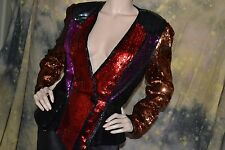 vtg 80s INSANE color block TUX glam FITTED multicolor TROPHY jacket blazer 8 M