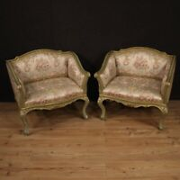 Pair of armchairs furniture chairs lacquered painted gilt wood antique style