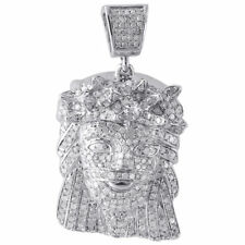 Diamond Jesus Piece Pendant 10K White Gold Fully Iced Out Face Charm 1.80 Ct.