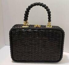 New listing Vtg 60' Black Wicker Weave Handbag Purse made in Hong Kong~ black beaded handles