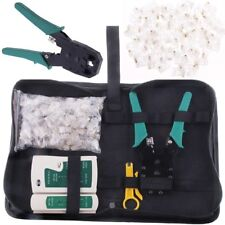 BIN Network Ethernet Cat5e Cable Crimp Crimping Tester-Tool Kit +100 Connecto