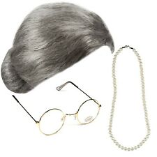 GRANNY BUN WIG GOLD ROUND GLASSES PEARLS FANCY DRESS OLD GRANDMA SECRETARY SET