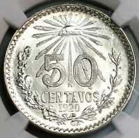 1920 NGC MS 65 Mexico 50 Centavos Mint State Silver Coin (19100404C)