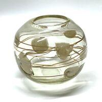 Striped Hand Blown Art Glass Bowl Vase