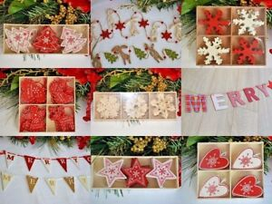 Christmas Decorations garland bunting - Star Heart Tree, Snowflake, Santa, red