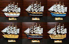 """Ship 4.4"""" Tall Detailed Wooden Boat Model Nautical Home Decor Collectible Mix"""