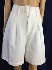 BURU High Waisted Cotton Ivory,Wide Leg,Belted,Lined,Bermuda Women's Shorts SZ S