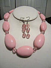 Pink Lucite Bead Faceted Clear Pink Lucite Bead Necklace Earring Set