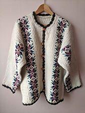 70s 80s vintage cardigan 20 hippy ethnic festival cream patterned oversized