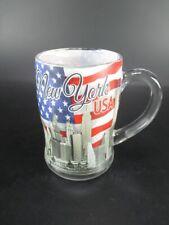 New York Vetro Birra Birra Skyline Torretta Libertà Empire Chrysler Bandiera
