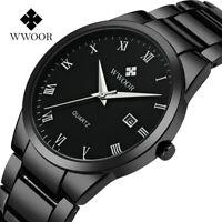 WWOOR Men's Stainless Steel Watch Band Mesh Date Analog Quartz Wrist Watches