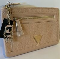 NWT GUESS DULCE WRISTLET BAG Blush Pink Logo Clutch Pouch Handbag Wallet GENUINE