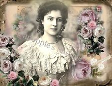 Fabric Block Chic & Shabby Victorian Altered Image Lace Roses Whimsy Dust