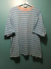New listing Vintage 90s Skater Rush Brand Short Sleeve Teal Striped T-Shirt Men's L - Nice!