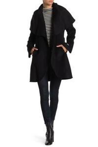 Tahari Womens L Black Marilyn Cape Overlay Wool Blend Wrap Coat