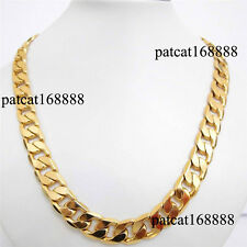 """30"""" inch 24k yellow gold filled men's necklace curb chain jewelry(STAMPED ITALY)"""