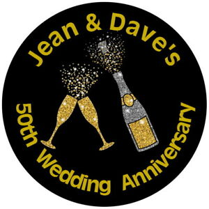 GOLDEN WEDDING GLOSS CHAMPAGNE 50 YEARS PERSONALISED STICKERS ANY TEXT
