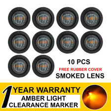 """10 x 3/4"""" Mount Smoked Lens Amber LED Clearance Side Marker Light Boat Truck ATV"""