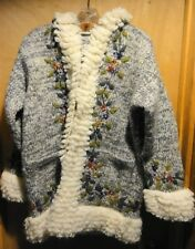 Beautiful Unique Hand Made Wool Hoodie Sweater Button Up