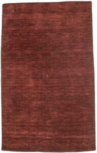 Hand Loomed Maroon Red 5X8 Oriental Modern Rug Contemporary Foyer Decor Carpet