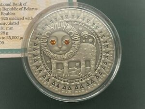 Leo Zodiac of the Sign 20 Roubles Silver Coin With Crystals Belarus 2009