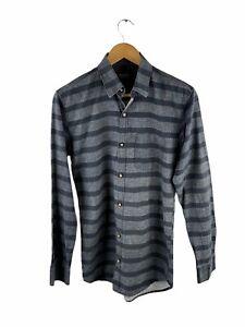 VINTAGE Banana Republic Button Up Shirt Mens Size US M Grey Striped Long Sleeve