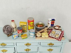 Vintage Groceries & Baking in Progress Cutting Board Dollhouse Miniature 1:12