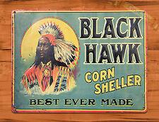 "TIN SIGN ""Black Hawk"" Ad Corn Vintage Wall Decor"
