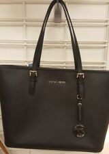 NWT jet set travel MD Top Zip Michael Kors black leather tote purse bag women
