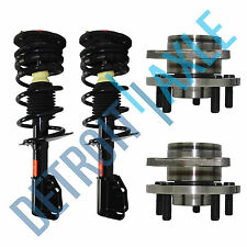 New 4 pc Kit - 2 Front Wheel Hub and Bearing Assembly + 2 Complete Ready Strut