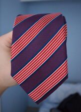Geoffrey Beene New York 100% Silk Tie | Red and navy blue with Diagonal stripes