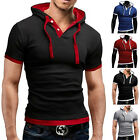 Uomo Manica Corta In Cotone Maglietta Polo Slim Fit Cappuccio T-Shirt