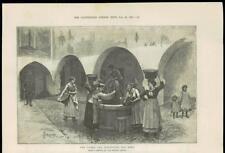 1888-Italia San Remo Piazza San sebatiano Fontana d'acqua e le famiglie (55A)
