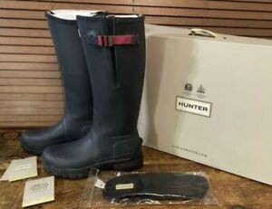Hunter Balmoral Field Wellington Boots. 5mm Insoles Boxed Navy Blue Size 8 Woman