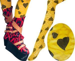 Vivienne Westwood Japan Pantyhose Tights Mesh Heart Orb -Yellow & Black-Size M-L