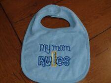 Embroidered Baby Bib - My Mom Rules - Boy