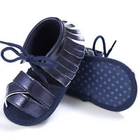 Newborn Baby Girl Boy Tassel Sandals Soft Sole Crib Shoes Anti-slip Prewalker UK