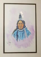 vintage William Rains Native American chief Folk Art drawing watercolor painting