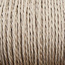 Beige Light Brown Twisted Braided Fabric Cable 3-Core 0.5mm for lighting