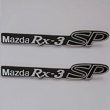 MAZDA RX3 SP , 2x metal badges chrome, Brand New, for Rotary Rotor RX3SP Savanna