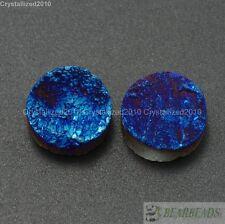 2Pcs Druzy Quartz Agate Flat Back Connector Cabochon Round Beads 10mm 12mm 14mm