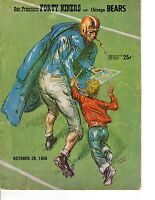 1956 (Oct.28) Football Program,Chicago Bears @ San Francisco 49ers Kezar Stadium