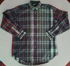 Men's Vintage Tommy Hilfiger Long Sleeved Plaid Crest Button Up Shirt Large